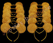 Minnie Mickey Mouse Ears Headbands 24 pc Shiny GOLD Birthday Party Costume DIY