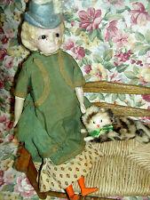 Wonderful Rare antique, Bonnet Head paper mache & wood doll, all orig. with cat