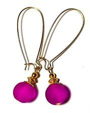 Long Cerise Pink Earrings Tibetan Gold Plated Style Statement Boho Glass Drop
