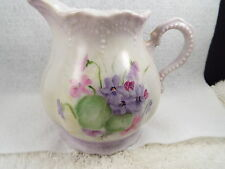 Virginia Welsh signed Ceramic Porcelain Violet Flowers 20oz Milk Pitcher Creamer