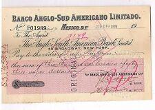 971 Revenue Stamp in Old Check 1920 Banco Anglo - Sud Americano Limitado Mexico