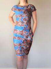 Women's dress bodycon stretch black evening bardot UK size 16 print new