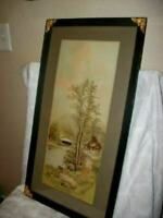 ANTIQUE FRENCH LANDSCAPE PRINT ETCHING BRASS CORNERS FRAME WOOD BACK LATE 1890's