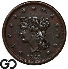 1841 Large Cent, Braided Hair, Choice Au+ Better Date
