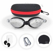 Splaqua Swimming Gear Set Mirrored Goggles Swim Cap Ear Plugs Nose Clip & Case