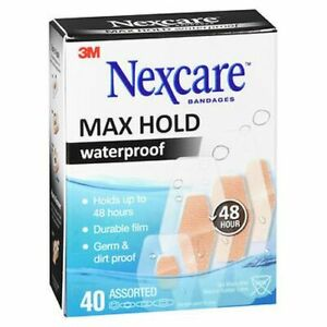 Nexcare Max Hold Waterproof Bandages Assorted 40 Each