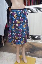 Laura Ashley Linen/cotton Mix Lined Skirt Size UK 12 Purple/blue/ochre/black