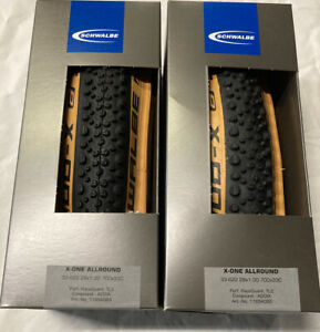 Pair Schwalbe 700x33c X-One Classic Allround Tan Wall Folding Cycle Tyres
