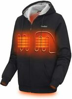 Heated Hoodie for Men and Women, Heavyweight Full-Zip Fleece Hooded Heated XXL