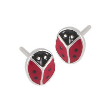 Sterling Silver & Enamel LADYBUG Stud Earrings