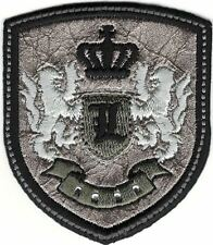 Silver Black Rampant Lion Crown Coat of Arms Crest Letter L Embroidery Patch
