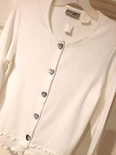 NWT Size M Coldwater Ck White Long Sleeve Cotton Ruffled  Knit Top