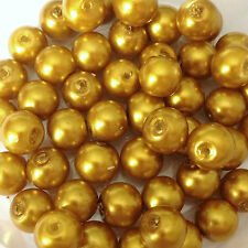 8mm Glass faux Pearls - Mustard Yellow (50 beads), pearl beads, jewellery making