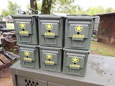 6..MILITARY SURPLUS . 50 CAL AMMO CANS TOOL BOX HUNTING CAMPING TENT STAKES ARMY