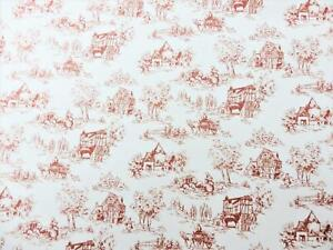 Dolls House Toile de Jouy Red on White Miniature Picture Print Wallpaper 1:12