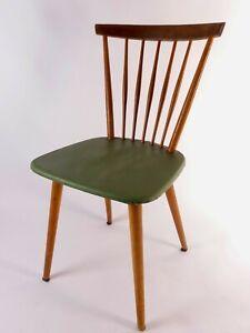 Esszimmerstuhl Küchenstuhl Holz Kunststoffbezug Grün 50er Jahre Rockabilly