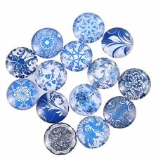 20mm 10 Random Mixed Round Glass Cabochons Dome Flat Back Pendant DIY Beads Lot