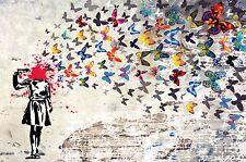 Banksy Headshot e Muro Farfalla arte del graffiti 61cmx81.3cm Stampa Su Tela
