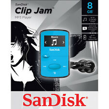 NEW SanDisk Sansa Clip Jam 8GB BLUE MP3 Player FM Radio Music USB MicroSD Slot