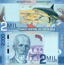 New Costa Rica 2000 Colones 2009 Shark Unc Banknote P275