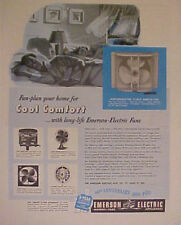 1950 Emerson Electric Fans Home Office Appliances AD