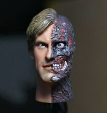 █ Custom Aaron Eckhart Burned 1/6 Head Sculpt Two Face for Hot Toys Body