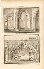 1803 LARGE ARCHITECTURE PRINT ~ TOMB of CRUSADER CLEVE CHURCH GLOUCESTERSHIRE