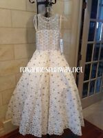 Rachel Allan Perfect Angels 1574 White Stunning Pageant Gown for Girls sz 6