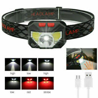 USB Rechargeable Headlamp Motion Outdoor Intelligent Sensor Headlights 6 Modes