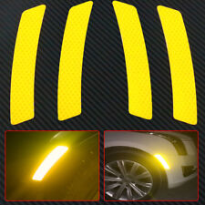 4x Super Yellow Car Wheel Eyebrows Reflective Sticker Warning Sign Self-adhesive