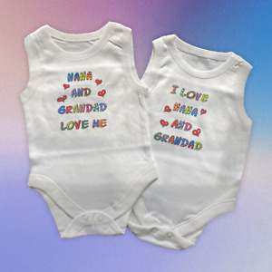 Baby Vests. Set of 2. 'Nana and Grandad Love Me' and 'I Love Nana and Grandad'.