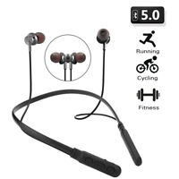 Sport Bluetooth Headset Wireless Stereo Bass Headphone Magnetic Earbud With Mic