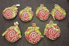 Christmas Jingle Ball Shape Ornament Hanging Decoration Stocking Pillow SET OF 7