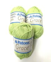 """Celery Green  Cotton Yarn Patons """"Grace"""" 136 Yd Lot 3 Skeins  Color 62027 Ginger"""