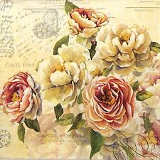 TOVAGLIOLI di carta 4x-Vintage rose-Per Decoupage Decopatch ARTE Craft