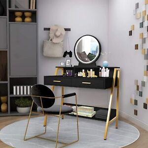 Vanity Table Round LED Lights Mirror 2 Drawers Makeup Dressing Desk Set Bedroom