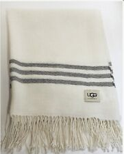 UGG Home Throw 100% Alpaca - Taffeta Weave Ivory w Grey Stripes  NWT Free Ship!