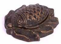 Fish Figurative Brass Vermilion Kumkum Tikka Box Indian Unique Antique G65-11 US