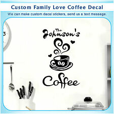 Personalized Love Coffee Cup Kitchen Wall Stickers Cafe Vinyl Art Decal 1C 106