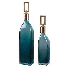 Mid Centuryl Modern Teal Green Glass Bottle Set 2 | Tall Bronze Blue Decorative