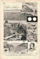 Transit of Venus Ile Saint-Paul Observatoire  GRAVURE ANTIQUE PRINT 1875