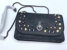 Stuart Weitzman SOHO Chain Wallet Studded Black Suede Leather Crossbody Bag