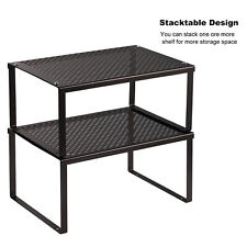 Home Kitchen Cabinet and Counter Shelf Organizer, Expandable & Stackable, Black
