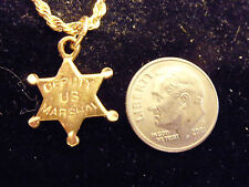 bling gold plated deputy u s marshal pendant charm marine chain hip hop necklace