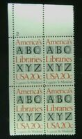US #2015 America's Libraries - 20c Plate Block of 4 Stamps MNH - 1982