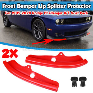RED Front Bumper Lip Splitter Protector For Dodge Challenger R/T Scat Pack 15-20