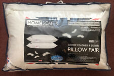 Pair Of Good Goose Feather & Down Pillows, Made In UK. Homescapes  Anti Dustmite