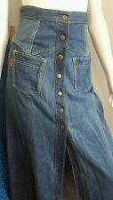 Vintage 60s Full Length Button Up Denim Skirt Keyman Hard Yakka