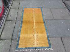 Vintage Hand Made Traditional Oriental Gold Wool Short Gabbe Runner 145x74cm