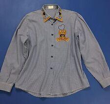 m.d.j romantic shirt orsetto camicia blu quadretti usata vintage camicetta T1905
